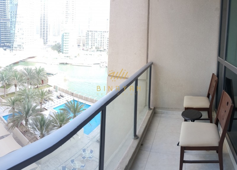 Marina and Pool View | Spacious 1BR Apt