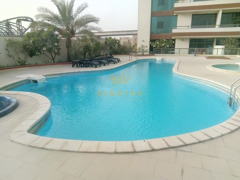 2 BR for rent in Azizi Orchid pool view